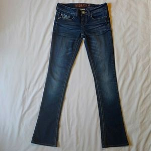 Hydraulic Embroidered Bootcut Denim Blue Jeans 5/6